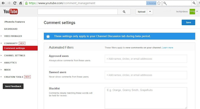 Youtube Comments settings managements how to block comments in youtube