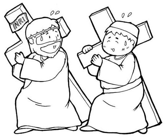 Dibujos para colorear Jesús y el Cirineo