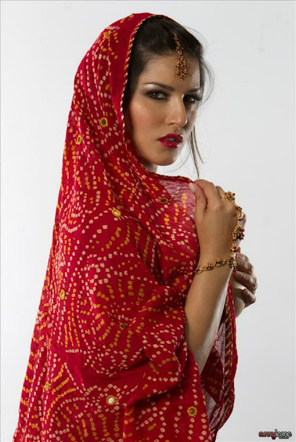 Sunny Leone in Red Shari Photo Shoot in India in Recent time.