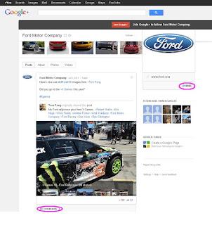Profil Forda na Google plus