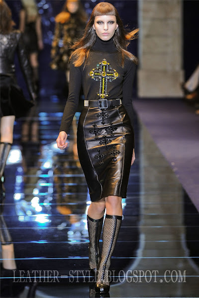 velvet blouse, leather skirt, boots, top model, Kate King, leather style, Versace, fashion brand, collection
