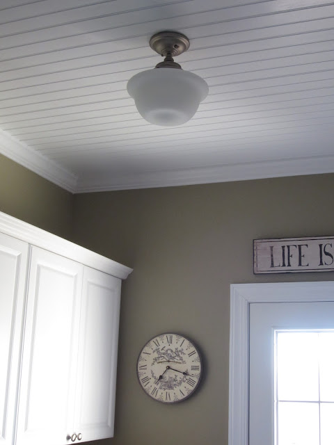 Schoolhouse Light and Beadboard Ceiling