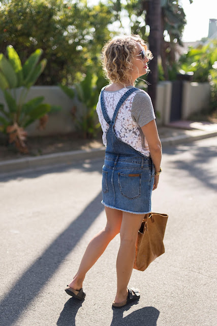 lace shirt, overalls