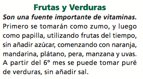 alimentación complementaria frutas y verduras