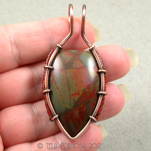 Modern Abstract Red & Green Cherry Creek Jasper Designer Pendant