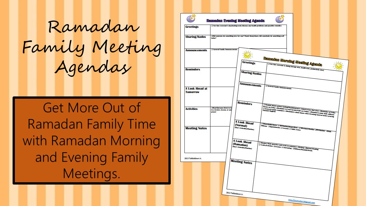 Ramadan Family Meeting Agendas ~ TJ Ramadan