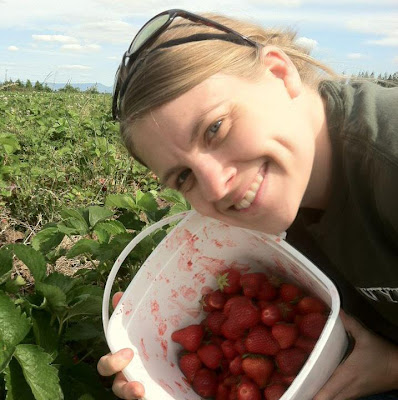 Shelley picking strawberries at a upick farm in Corvallis, Oregon