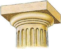Capitel de orden dorico. arquitectura de grecia. historia de grecia antigua