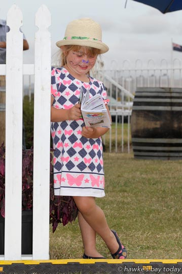 Georgia Griffiths, 4, Hastings, at the Interislander Summer Festival Summer Races, at Hawke's Bay Racing, Hawke's Bay Racecourse, Hastings. photograph