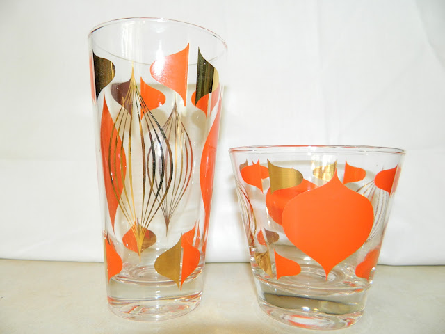 Mad Men 1960s Mod mid-century glasses barware Just Peachy, Darling