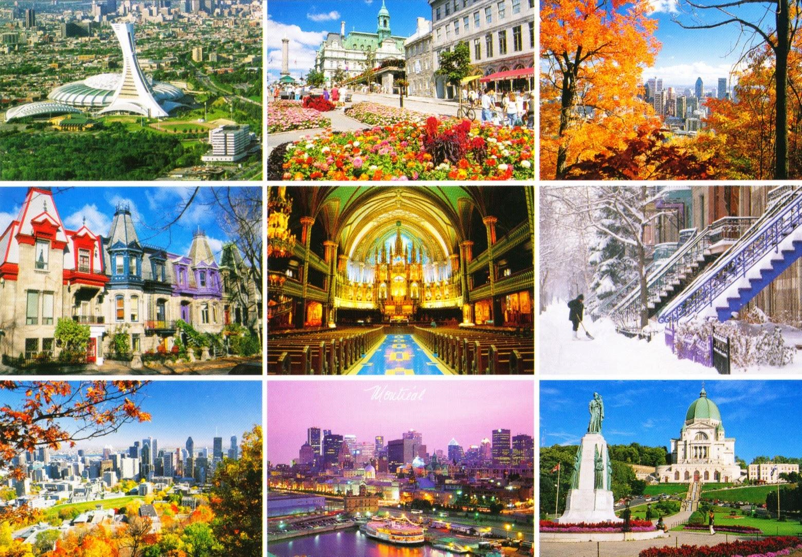 montréal, postcard, olympic stadium, notre-dame basilica, st. joseph's orator, old port