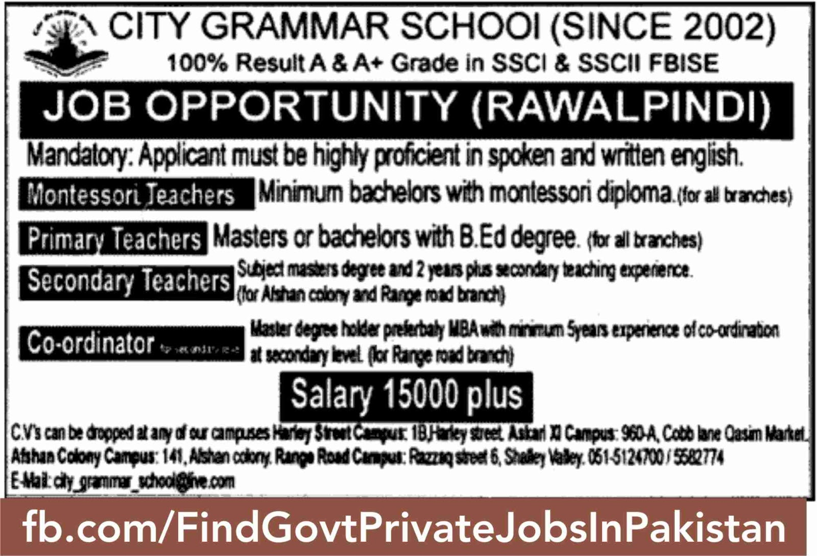 jobs opportunity teacher sunday ads