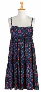 Floral Tile Print Cotton Tiered Dress