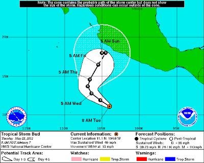 Informe Noaa tormenta tropical Bud, 22 de Mayo de 2012