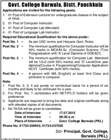 Government College Barwala Recruitments (www.tngovernmentjobs.in)