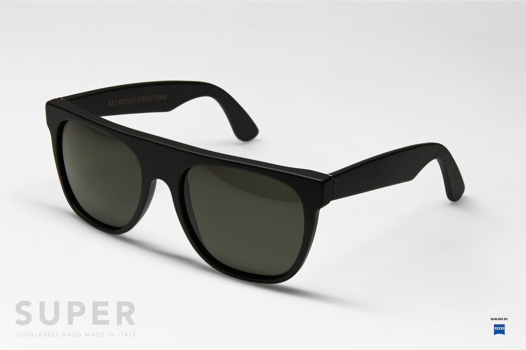 Super Flat Top Sunglasses Black Leather Super Flat Top Black