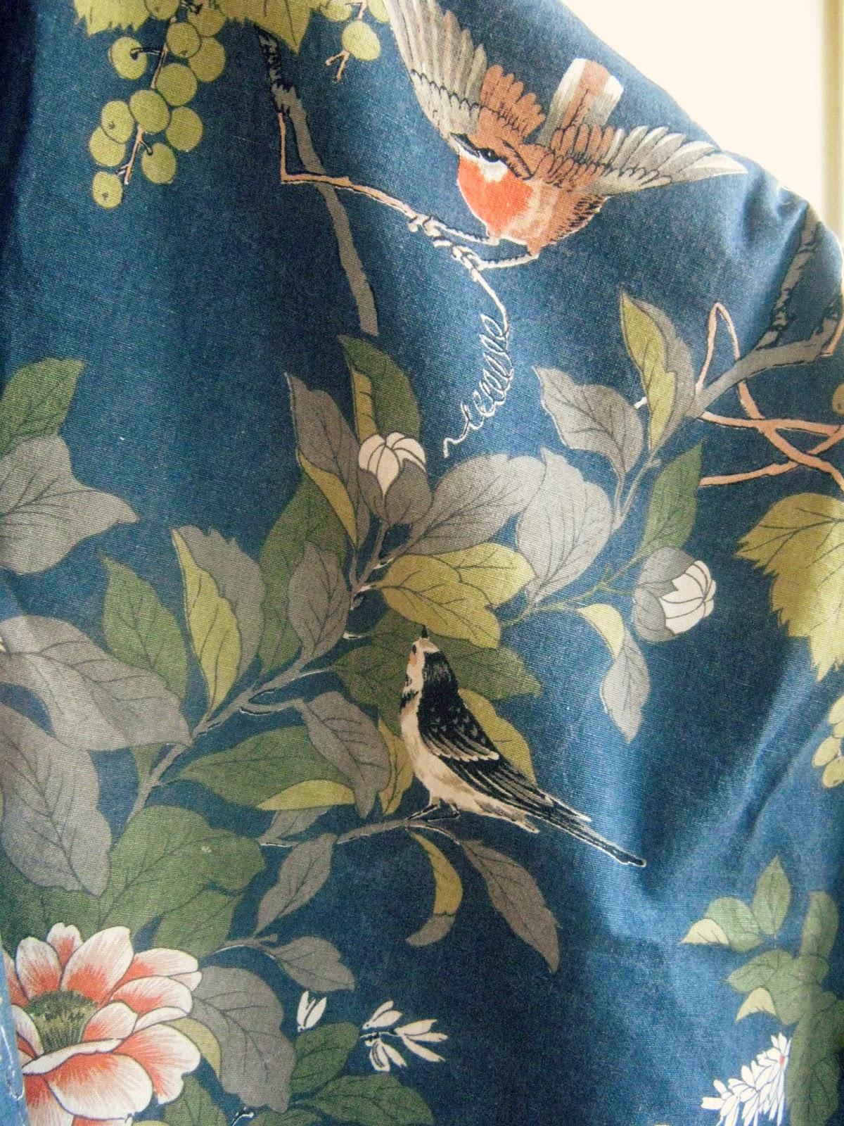 Vintage Bird Floral Fabric