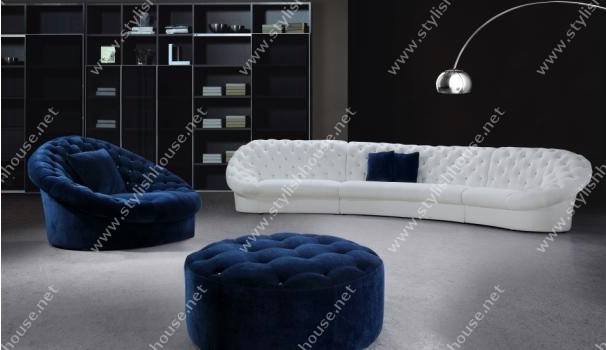 long white 3 pieces sofa, a blue ottoman and a blue loveseat