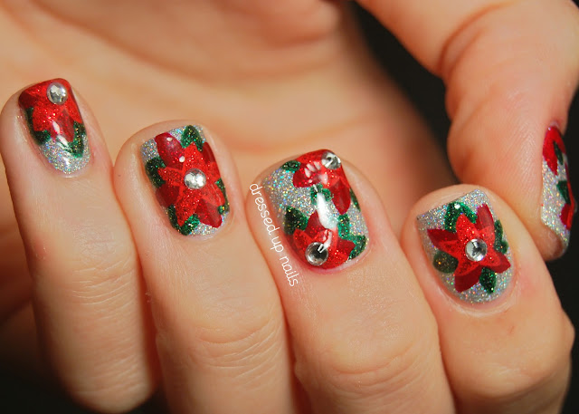 Dressed Up Nails - glittery poinsettia nail art with China Glaze Glistening Snow