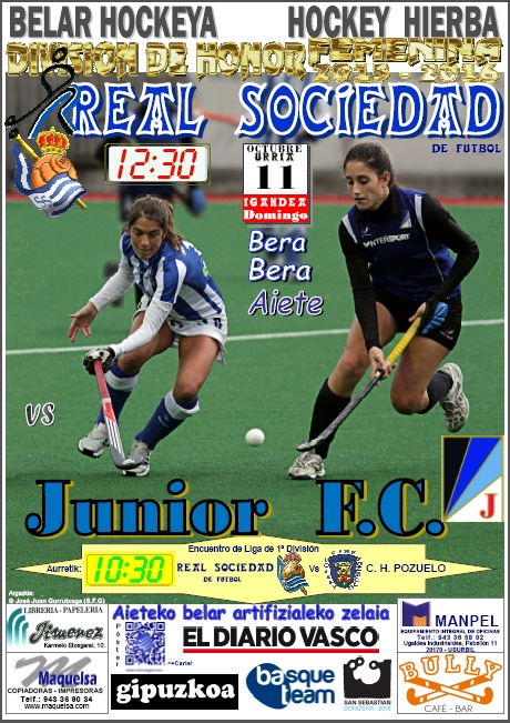 Cartel hockey 2015-10-11 Real Sociedad - Junior F.C.