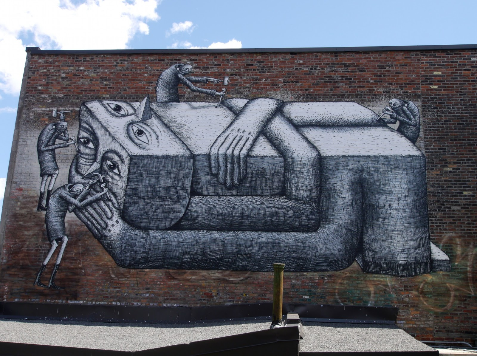 Phlegm new mural in montreal canada part ii for Art mural montreal