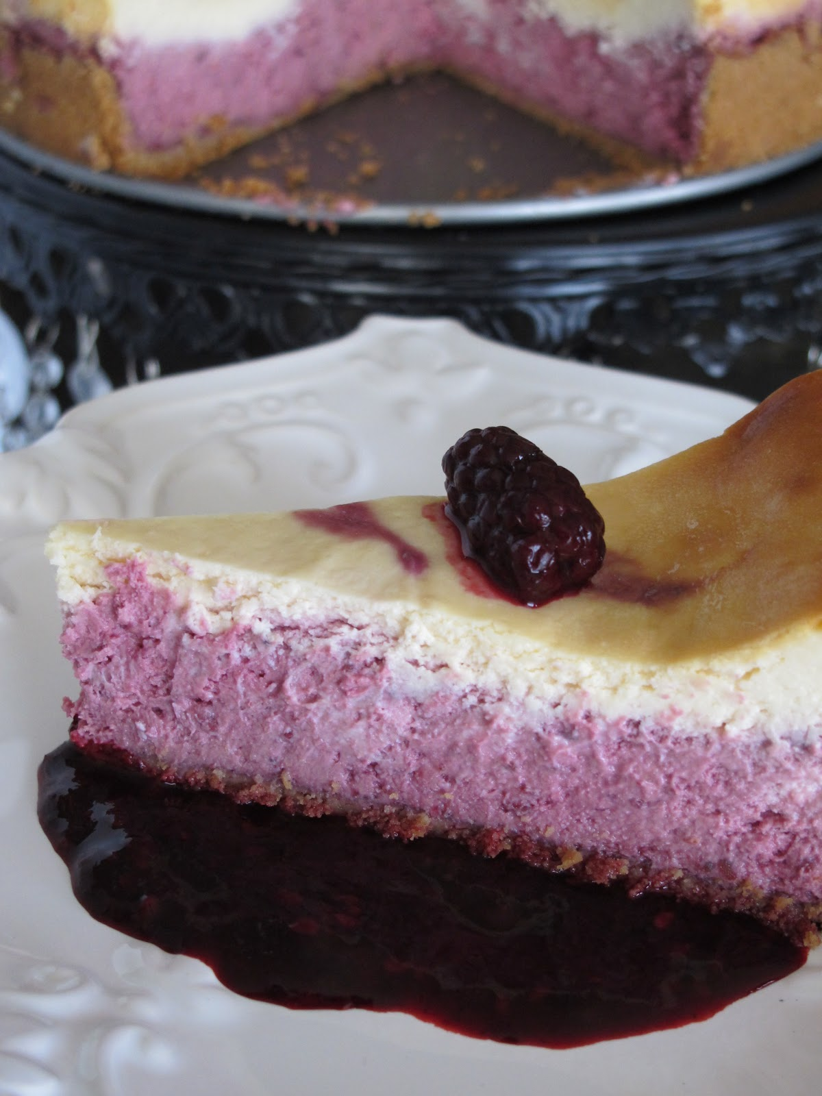 Purple Chocolat Home: Blackberry Lemon Layered Cheesecake