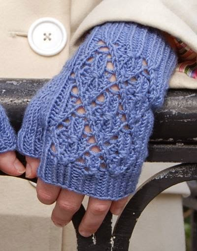 image Free Knitting Pattern-LacyFingerless Mitts