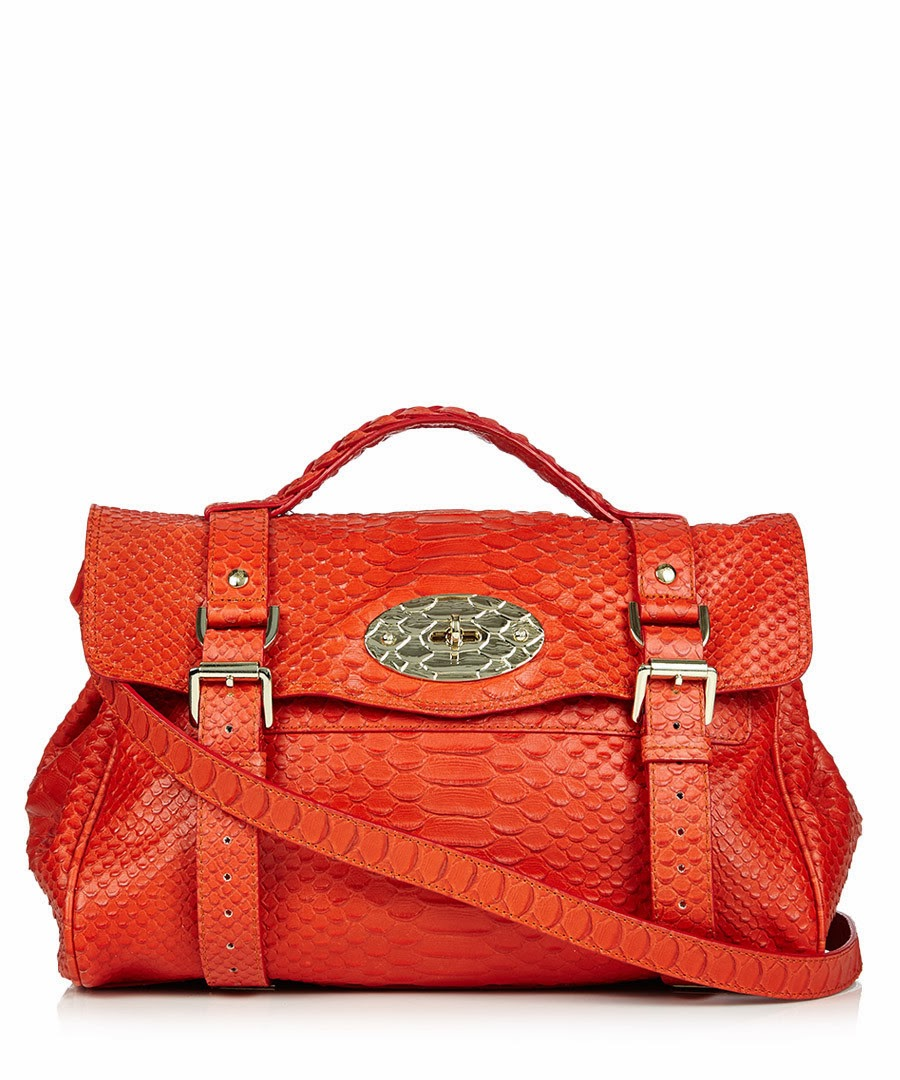 Mulberry Alexa Orange Flame Snakeskin Effect