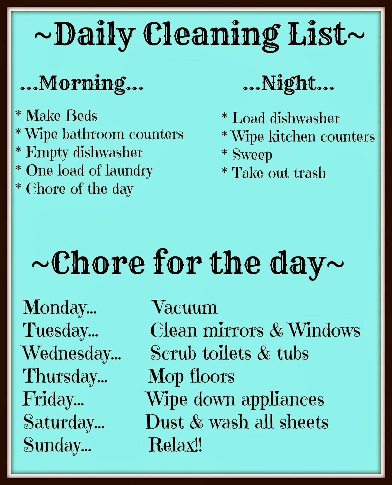 daily cleaning chart
