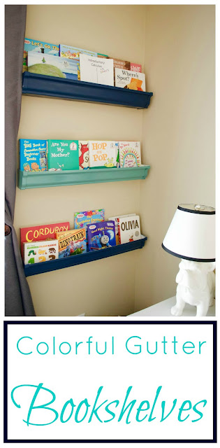 Colorful Gutter Bookshelves - Super Easy and Useful!