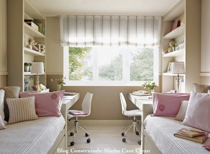 Construindo Minha Casa Clean 12 Quartos Fantásticos de  ~ Quarto Planejado Infantil Com Duas Camas