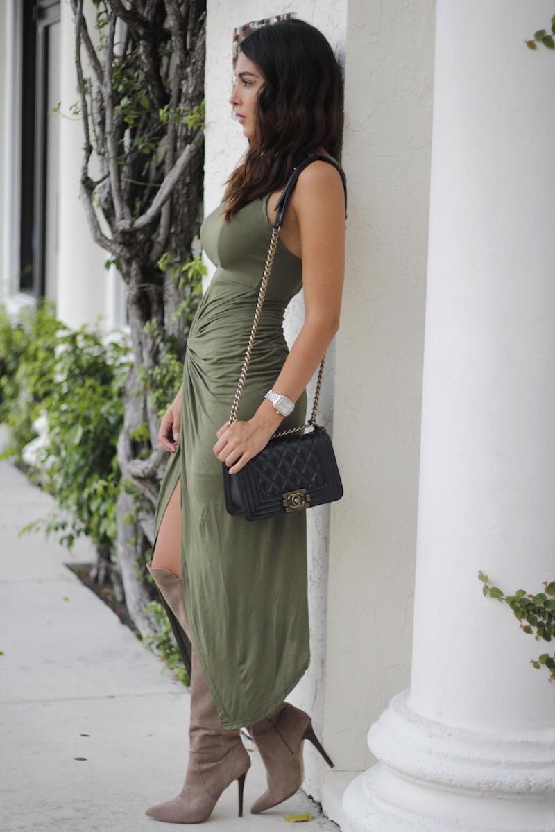 military green midi dress