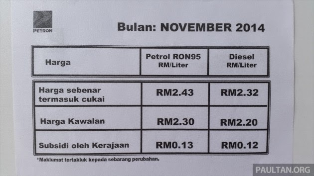 Tiada Lagi Subsidi Untuk Petrol RON 95 Dan Diesel Bermula 1 Disember 2014