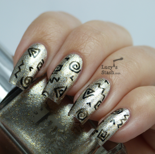Lucy's Stash - Doodle Nail Art over A England Excalibur (revamped)