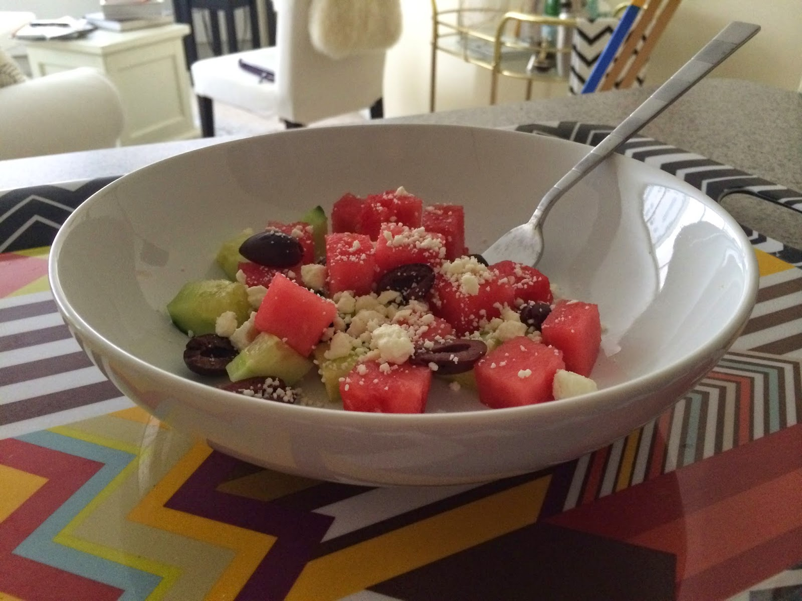 Watermelon Cucumber Feta Salad - Tasty Tuesday - Project Soiree