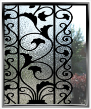 decorative faux wrought iron window bars insert film