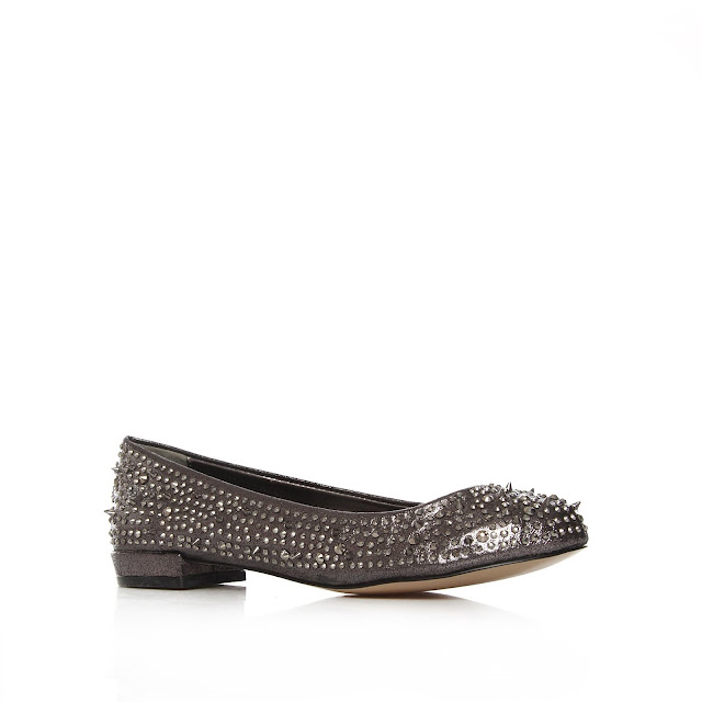 Kurt Geiger gem and spike metallic flats