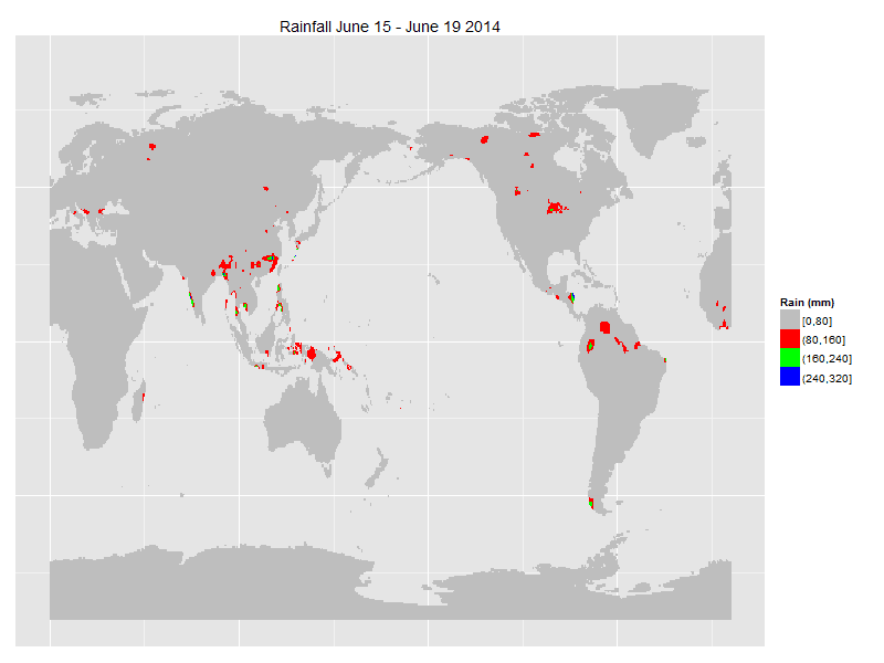 Updates to R package raincpc: Global Daily Rainfall for over 35 years