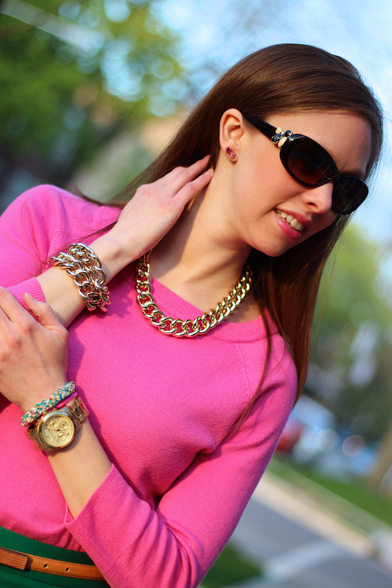 Pink Sweater with Gold Accessories | StyleSidebar