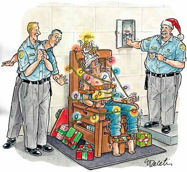 Henrettelse i den elektriske stol, med juletræskæde
