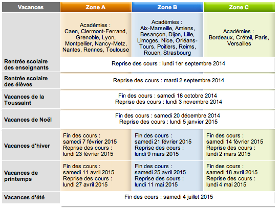 calendrier annee scolaire