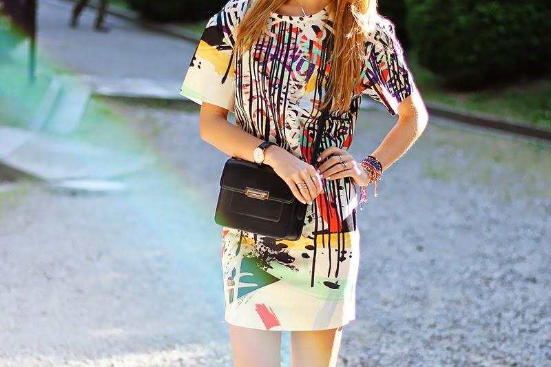 graffiti print dress, Mango mini bag, spring outfit
