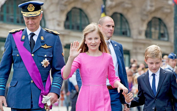 King Philippe, Queen Mathilde, their children Princess Eleonore, Prince Emmanuel, Prince Gabriel and Crown Princess Elisabeth