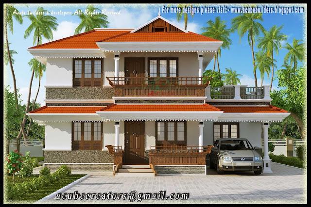 beautiful kerala style 2 storey house   2172 sq ft plan 126