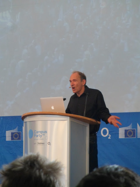 Tim Berners Lee on stage during talk