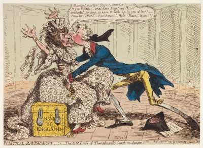 The Old Lady of Threadneedle Street in Danger by James Gillray