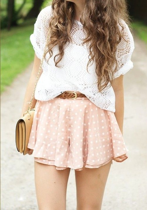 Perfect day out with short polka dot skirt & crochet top