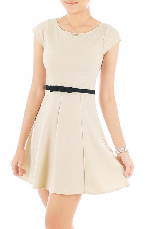 Sweetest Black Bow PETITE Dress - Cream