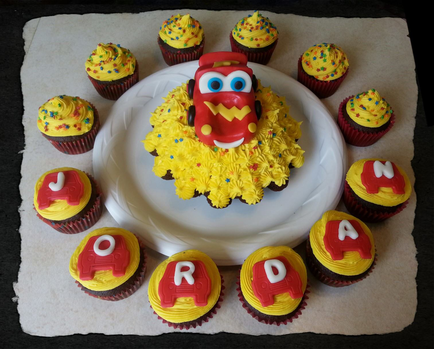 Cars Lightning Mcqueen Cake Cupcakes Bakery Creations By Jessica