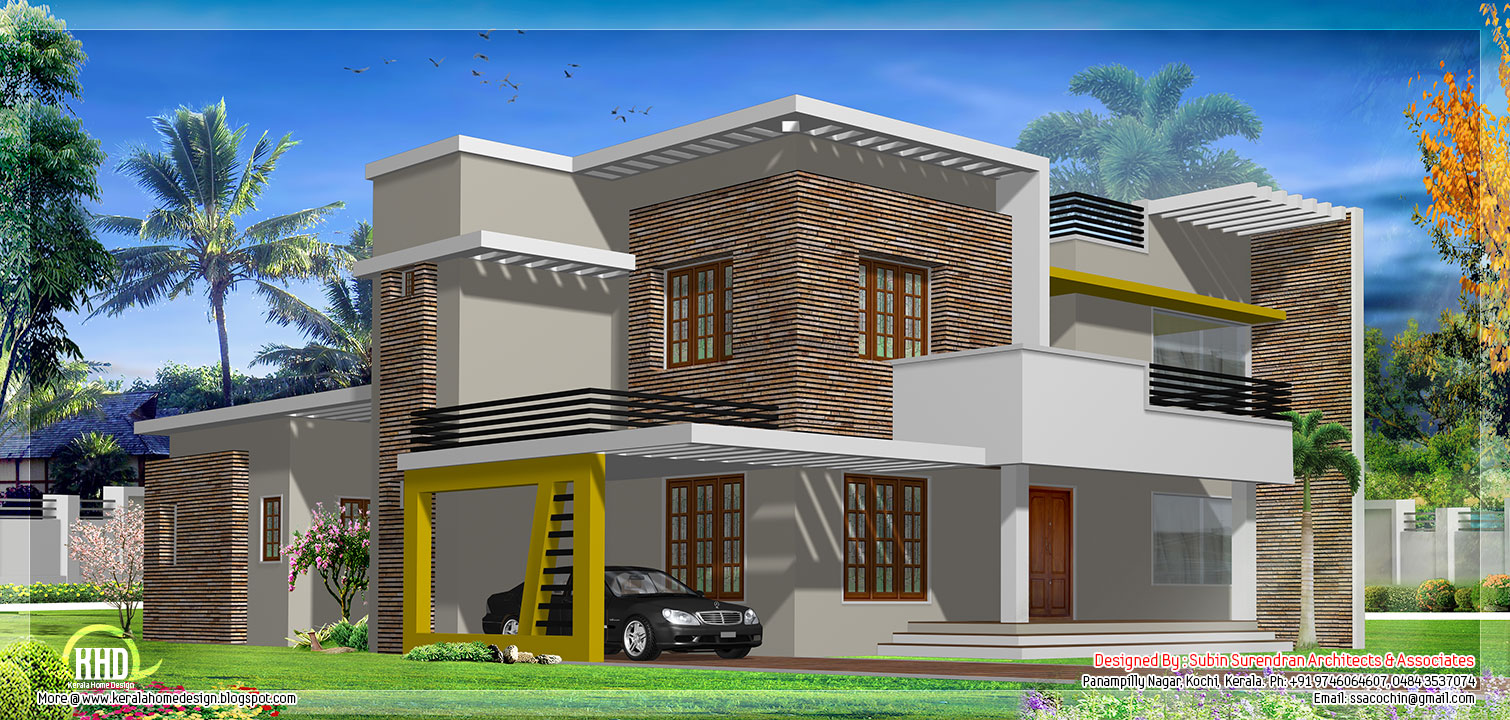 Modern flat roof house design - Kerala home design and floor plans